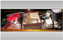 Quantity Of Mixed Costume Jewellery And Watches, To Include Beads, Brooches