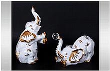 Capodimonte and Swarovski Pair of Polaris Elephant Figures. Hand finished I