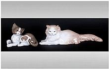 Lladro Cat Figure Model Number 5114, 3'' in height, Mint condition. Plus a