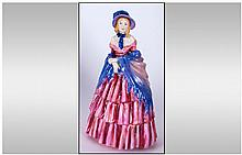 Royal Doulton Early Figurine ' Lady Charmian ' Red Shawl. HN.1948. Designer