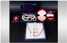 Mixed Lot Of Costume Jewellery, Comprising Pearl Necklace And Earrings, 3 S