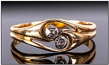 Antique 18ct Gold Two Stone Diamond Ring. Marked 18ct.