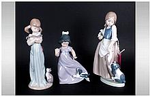 Nao By Lladro Figures, 3 in total, 'Children With Cats & Dogs' Tallest figu