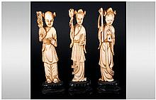 Chinese 19th Century Ivory Figures ( 3 ) In Total. All Figures Raised on a