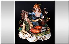 Capodimonte - Fine and Early Signed Group Figure ' The Young Lovers ' Signe