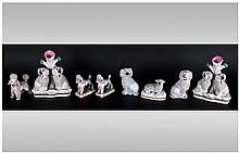 Staffordshire 19th Century Collection of Poodle Figures ( 7 ) In Total. c.1