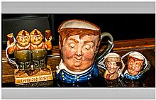 Three Royal Doulton Character Jugs Comprising Small And Tiny Fat Boy And Ti