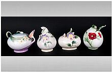 Franz - Fine Hand Painted Porcelain Lidded Pots ( 4 ) In Total. 1/ Poppy -