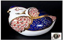 Royal Crown Derby Paperweight ' Quail ' Gold Stopper, Discontinued 1990. Co