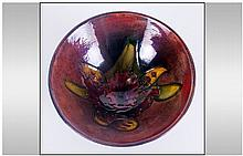Moorcroft - Small Footed Bowl ' Orchids ' Design. Label To Base Reads - Pot