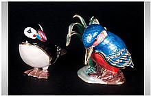 Enamel on Metal Hand Finished and Stone Set Figural -Hinged Wood Pecker and