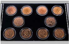Elizabeth II Box Of 10 22ct Gold Full Sovereigns. Date 1959, 1979, 1976, 19