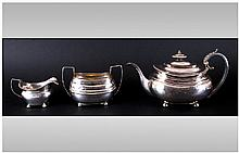 George III Regency Matched 3 Piece Tea - Service. Each Piece Engraved With