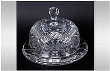 Large Heavy Crystal Glass Cheese Dome & Tray Acid Etched Decoration