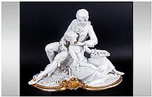 Capodimonte Fine Parian Early Signed Figure ' The Lovers ' Signed Benacchio
