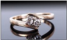9ct Gold Diamond Dress Ring, Set With Two Round Brilliant Cut Diamonds On A