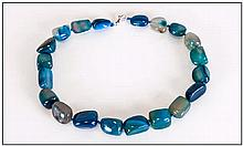 Teal Blue Agate Necklace, a strand of smooth tumbled agate beads, hand knot