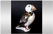Royal Crown Derby Paperweight ' Puffin ' Gold Stopper. Date 2006. Height 5