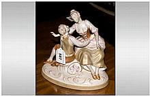 Royal Dux Figural Group, Depicting A Serenading Couple, Printed And Pink Tr