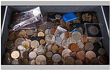 Small Aluminium Briefcase Containing A Quantity Of World Coins 19/20thC Com