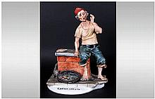 Capodimonte Early Figure ' Fish Seller ' II Primo Cliente, Signed Tyche Tos
