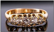Antique 18ct Gold Set Five Stone Diamond Ring. The Cushion Cut Diamonds of