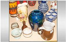 Six Art Pottery Vessels - Including Brown glazed jug stamped ''B-P'', Blue