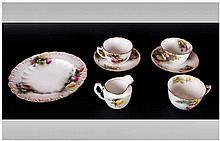 Royal Worcester Hand Painted and Fine 7 Piece Tea Service, Comprises 2 Cups