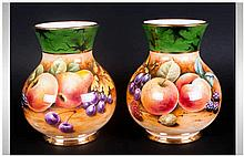 P. Gosling - Signed and Hand Painted Pair of Vases ' Fallen Fruits ' Stilli