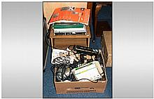 2 Boxes Of Miscellaneous To Include Sony Net MD Mini Disk Deck MD-JE780, Go