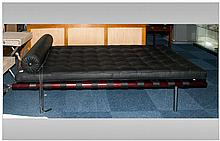 Modern Designer Mahogany Day Bed With  Black Buttoned Leather Cushion Toppe