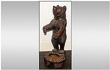 19th/20thC Black Forest Carved Figure In The Form Of A Standing Bear Raised