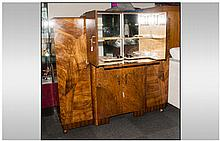 1930's Art Deco Walnut Veneered Cocktail Cabinet, with a Mirrored Adjustabl