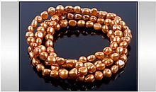 Golden Freshwater Baroque Pearl Rope Necklace,