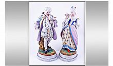 French Fine Pair Of Chantilly Bisque Hand Painted