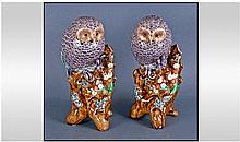 A Pair of Japanese Kutani Owl Figures, Approx 11