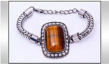 Tiger Eye and Austrian Crystal Bracelet. A large