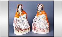 A Mid 19th Century Pair Of Staffordshire Figures.