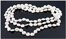 White Freshwater Baroque Coin Pearl Rope Necklace,