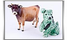 Small Sylvac Dog Figure with a Beswick Cow A/F.