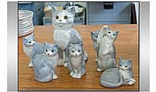 Collection Of Seven Staffordshire Cat Figures.