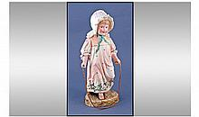 Victorian Coloured Bisque Figure Of A Small Girl