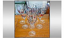 Set Of Eight Wine Glasses. Coloured design to