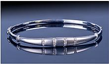 18ct White Gold Hinged Bangle, The Brushed Gold