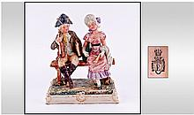 Royal Dux Bohemian Courting Couples Figure. Circa