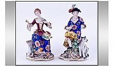 Samson Pair Of Hand Painted Porcelain Figures.