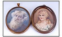 Victorian Portrait Miniatures Watercolours On
