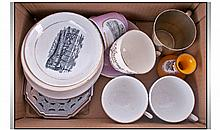 Box of Assorted Blackpool Cups & Saucers,