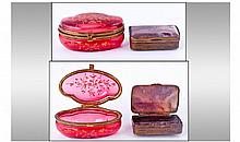 Victorian Kidney Shaped Ruby Glass Lidded Trinket