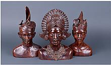 Three Malaysian Carved Busts, Height 10-11 Inches,